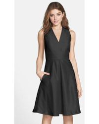 Alfred Sung - V-neck Dupioni Cocktail Dress - Lyst