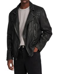 AllSaints - Cargo Biker Slim Fit Leather Jacket - Lyst