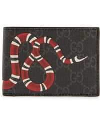 9219e0dcfd216d Gucci Snake Print Leather Wallet in Black for Men - Lyst