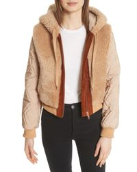 See By Chloé - Genuine Shearling Mixed Media Bomber Jacket - Lyst