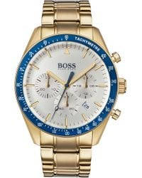 BOSS - Yellow-gold-plated Chronograph Watch With Blue Bezel - Lyst