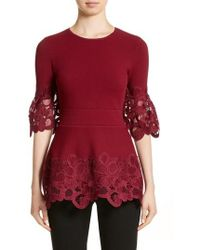 Lela Rose - Lace Hem Knit Top - Lyst