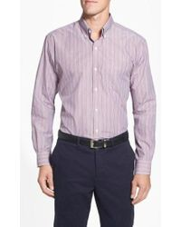 Cutter & Buck - 'epic Easy Care' Classic Fit Wrinkle Resistant Stripe Sport Shirt - Lyst