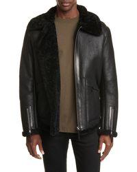 Bottega Veneta Genuine Shearling Jacket - Black