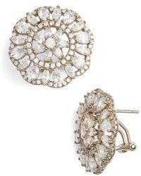 Nina - Sunburst Cubic Zirconia Clip Earrings - Lyst