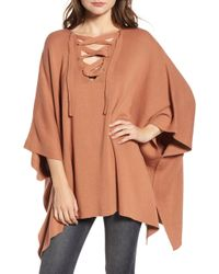 BISHOP AND YOUNG - Bishop + Young Harper Lace Up Poncho Sweater - Lyst