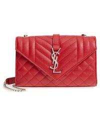 Saint Laurent - Small Cassandre Leather Crossbody Bag - Lyst