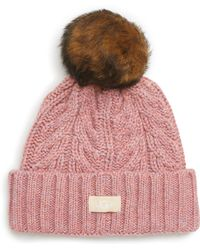 UGG - Ugg Pompom Cable Genuine Shearling Beanie - - Lyst