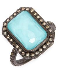 Armenta - Old World Midnight Turquoise & Diamond Ring - Lyst