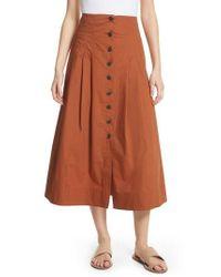 Sea - Azalia Button Front Poplin Midi Skirt - Lyst