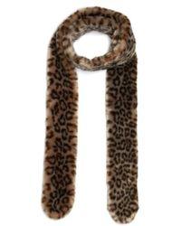 Shrimps - Leopard Print Faux Fur Scarf - Lyst