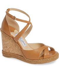 Jimmy Choo - Alanah Leather Wedge Sandals - Lyst