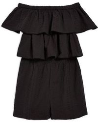 TOPSHOP - Ruffle Tiered Off The Shoulder Romper - Lyst