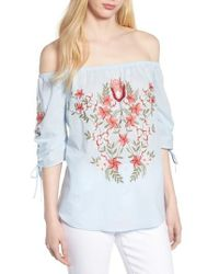 Hinge - Embroidered Off The Shoulder Top - Lyst