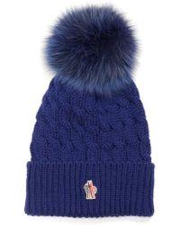 Moncler - Genuine Fox Fur Pom Ribbed Wool Beanie - Lyst