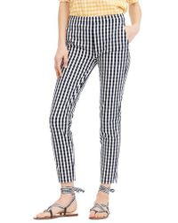 J.Crew - J.crew Martie Gingham Stretch Cotton Pants - Lyst