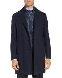 BOSS - Nadim Trim Fit Wool Blend Overcoat - Lyst