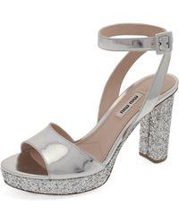 Miu Miu - Glitter Platform Sandal - Lyst