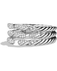 David Yurman - 'willow' Three-row Ring With Diamonds - Lyst