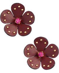 Kate Spade - Leather Stud Earrings - Lyst