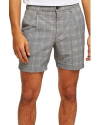 TOPMAN - Pleated Check Shorts - Lyst