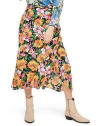 TOPSHOP - Heavy Petal Print Midi Skirt - Lyst