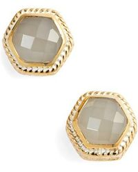 Anna Beck - Grey Moonstone Hexagon Stud Earrings - Lyst