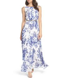 Eliza J - Pleated Floral Chiffon Maxi Dress - Lyst