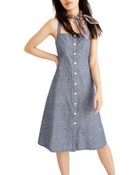 5b4fd454334 Madewell - Button Front Chambray Tank Dress - Lyst