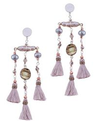 Nakamol - Labradorite & Freshwater Pearl Triple Mini Tassel Earrings - Lyst