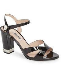 Miu Miu - Jeweled Heel Sandal - Lyst