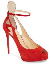 48609a87f4a1 Lyst - Christian Louboutin Red Patent Lafalaise Platform Sandals in Red