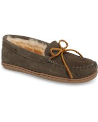 989f130b6f0 Minnetonka - Genuine Shearling Hard Sole Moccasin Indoor outdoor Slipper -  Lyst