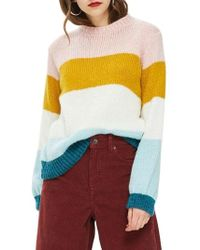 TOPSHOP - Colorblock Knit Pullover - Lyst