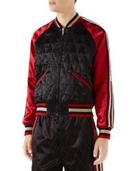 807d762d4 Gucci Nylon Bomber Jacket in Black for Men - Lyst