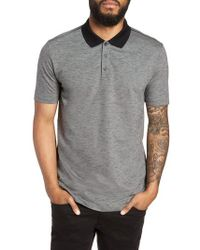 HUGO - Dirch Leather Slub Pique Polo - Lyst
