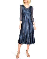 shop for official big clearance sale hottest sale Embellished Charmeuse Midi Dress - Blue