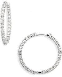 Roberto Coin - Large Diamond Hinged Hoop Earrings - Lyst