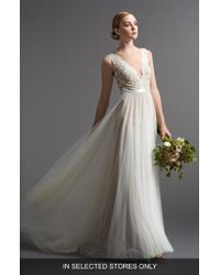 Watters - Santina Lace Bodice A-line Gown - Lyst