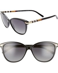 dfdfd06d75 Burberry - Check 57mm Polarized Gradient Cat Eye Sunglasses - - Lyst