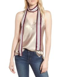 Kate Spade - Geo Stripe Medium Skinny Silk Scarf - Lyst