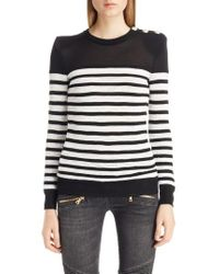 Balmain - Marine Stripe Knit Sweater - Lyst