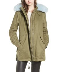 10 Crosby Derek Lam - Genuine Fox Fur Trim Cotton Blend Parka - Lyst