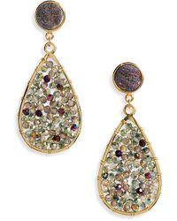 Panacea - Drusy Crystal Teardrop Earrings - Lyst