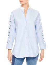 Sandro - Lace-up Sleeve Cotton Shirt - Lyst