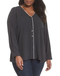 Eileen Fisher - Piping V-neck Silk Shirt - Lyst