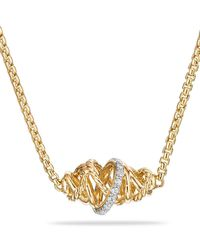 David Yurman - Crossover Station Necklace In 18k Gold With Diamonds - Lyst
