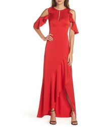 ML Monique Lhuillier - Ruffle Cold Shoulder Gown - Lyst