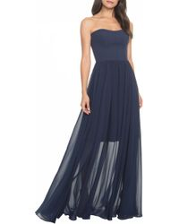 Dress the Population - Ella Strapless Crepe Chiffon Gown - Lyst