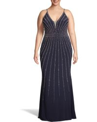 1393c4c67a3 Lyst - Xscape Chiffon Overlay Split Sleeve Gown in Blue